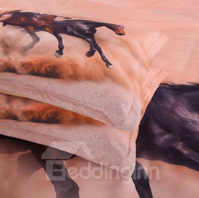 Amazing Running Horse 3D Print 4-Piece Polyester 3D Duvet Cover