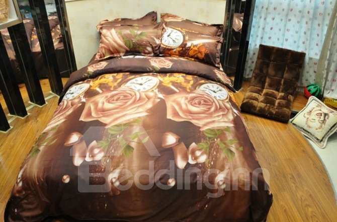 Attractive Rose and Clock Print 4-Piece Polyester 3D Duvet Cover