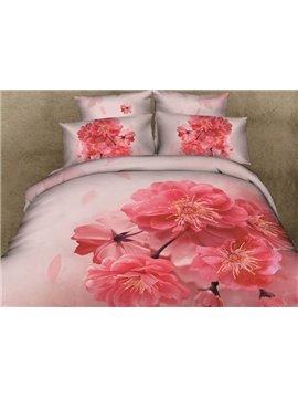 Fnatastic 3D Plum Blossom Printed 4-Piece Cotton Duvet Cover Sets