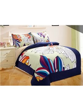 Chic Esthetical Flower Print 4-Piece Duvet Cover Sets