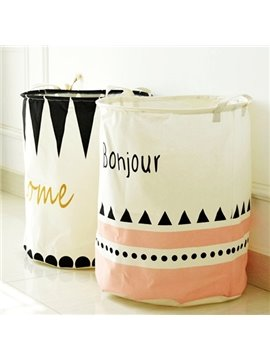 Foldable and Waterproof Cotton Laundry Basket Storage Bag