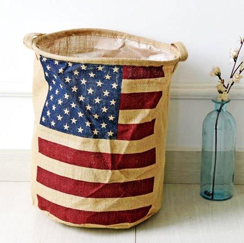 American Flag Pattern Cotton Laundry Basket Storage Bag