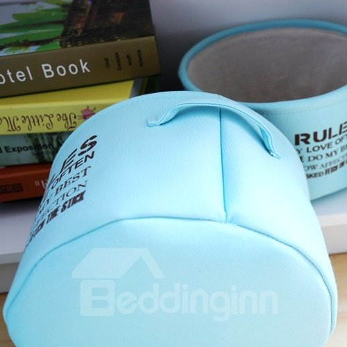 Light Blue Cotton Fabric Debris Storage Basket Closet Finishing Boxes