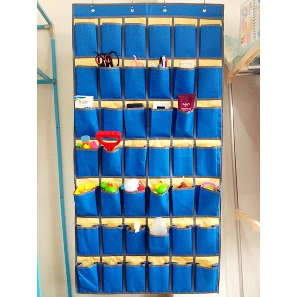 Functional Over-the-Door Blue Multi-Pocket Storage Bag