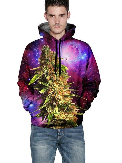 Unique Long Sleeve Plant Pattern 3D Painted Hoodie