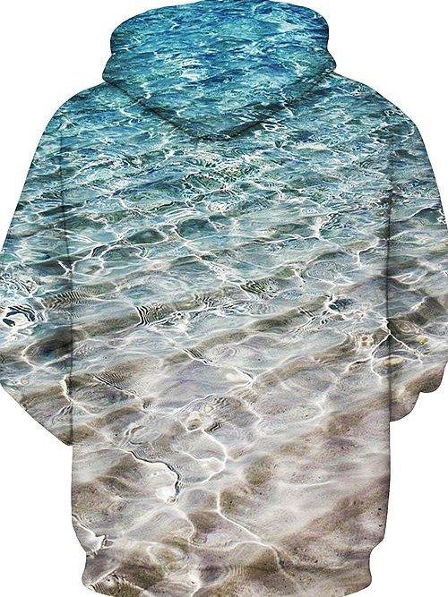 Super Long Sleeve Seawater Pattern 3D Painted Hoodie