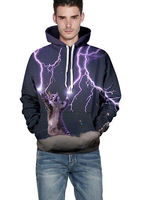 Cool Long Sleeve Cat Make Lightning Pattern 3D Painted Hoodie