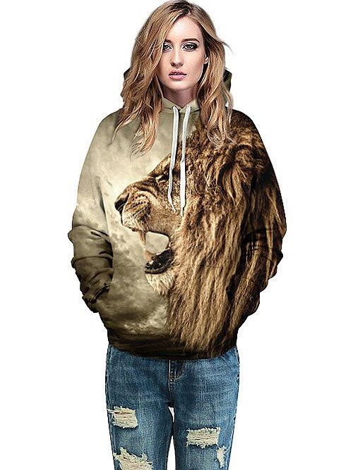 Cool Long Sleeve Lion Open Big Mouth Pattern 3D Painted Hoodie