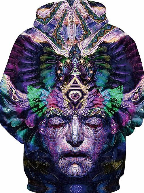 Unique Long Sleeve Stone Head Pattern 3D Painted Hoodie