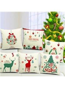 Festive Christmas Design Cotton Throw Pillow Case