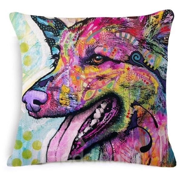 Special Colorful Dog Design Cotton Throw Pillow Case