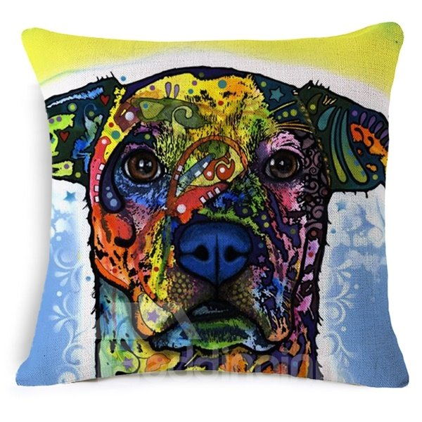 Unique Dog Reactive Printing Cotton Throw Pillow Case