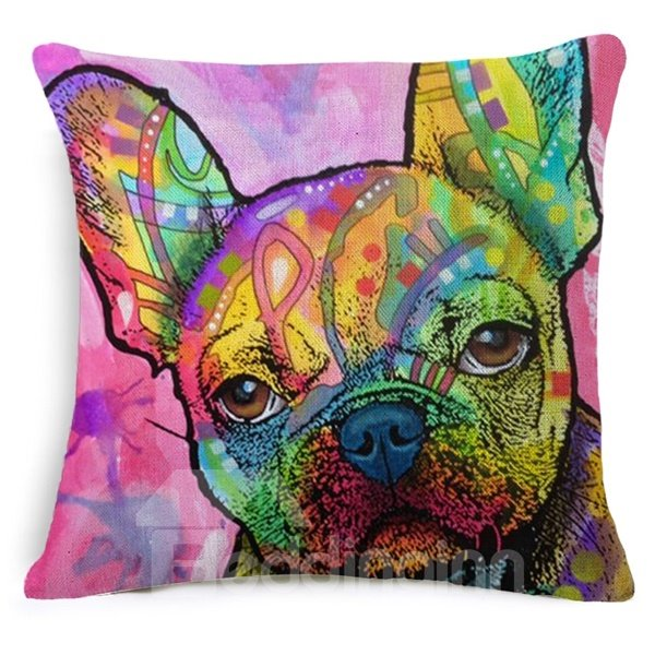 Unique Dog Reactive Printing Cotton Throw Pillow Case