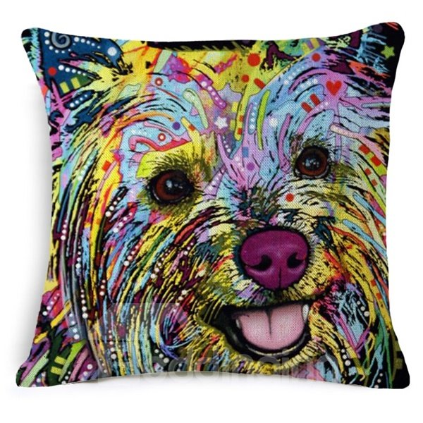 Adorable Dog Print Cotton Square Throw Pillow Case