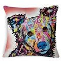 Modern Style Lovely Dogs Print Cotton Throw Pillow Case