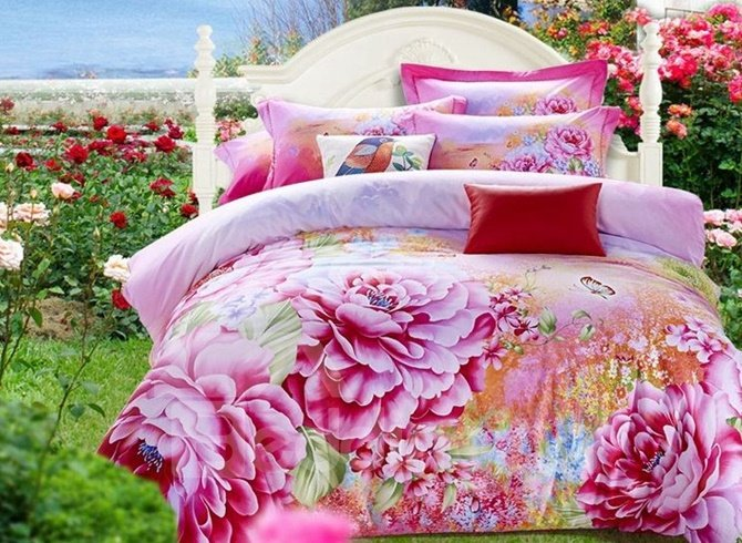 Luxury Pink Peony Print Cotton 4-Piece 3D Duvet Cover Sets