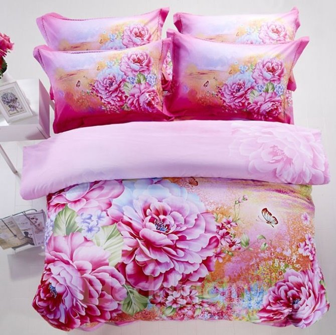 Luxury Pink Peony Print Cotton 4-Piece 3D Duvet Cover Sets