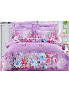 Noble Flower with Lace Embellishment 4-Piece Cotton Duvet Cover Sets