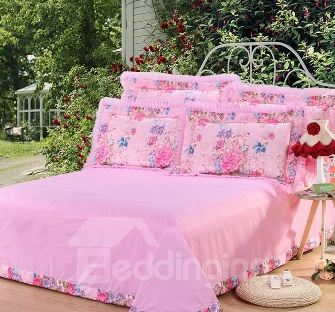Sweet Pink Peony Print Lace Embellishment 4-Piece Cotton Duvet Cover Sets