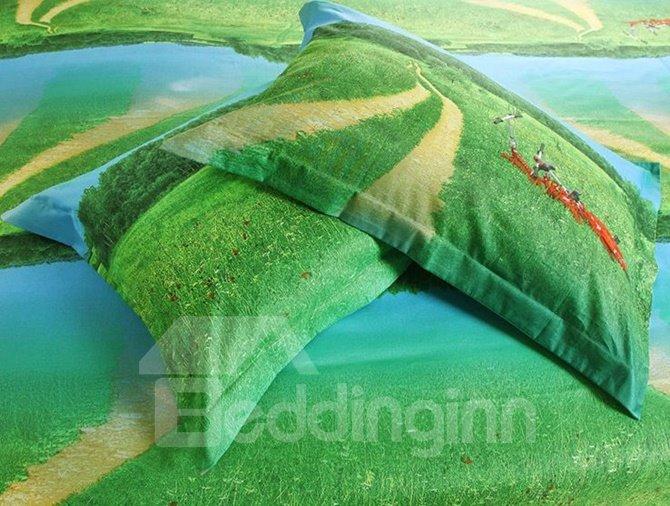 Splendid Lawn and Bicycle Print 4-Piece Cotton Duvet Cover Sets