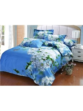 Fresh Pear Blossom Blue Sky Cotton 4-Piece Duvet Cover Sets