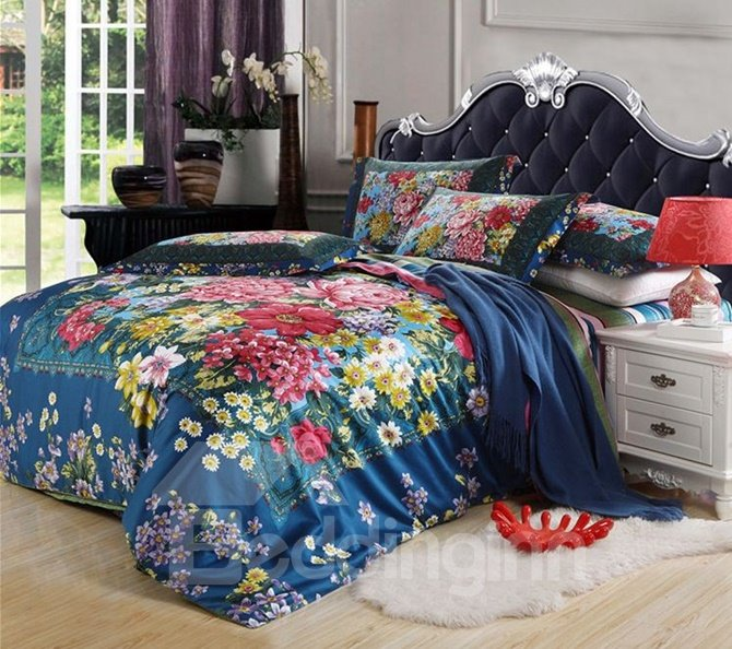 Magnificent Lush Peony Print Combed Cotton 4-Piece Duvet Cover Sets
