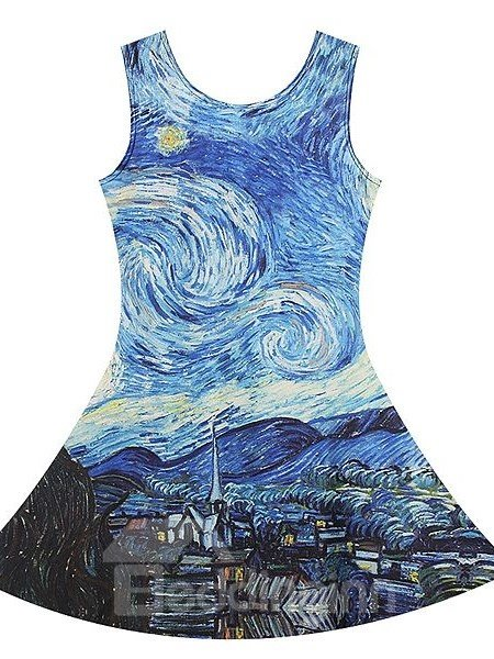 Glamorous A-line Round Neck Oil Painting Style Pattern 3D Painted Dress