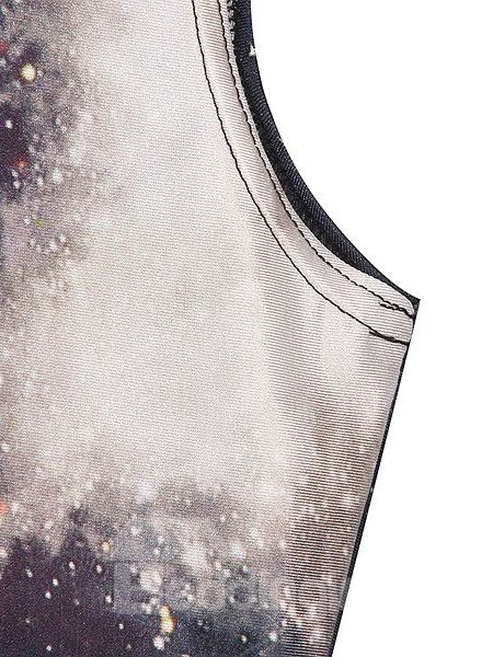 Shining A-line Round Neck Starry Sky Pattern 3D Painted Dress