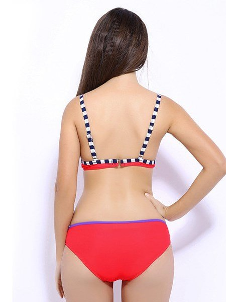 Colorful Beach Swimwear with Falsies Sexy Free Wire Bikini Set