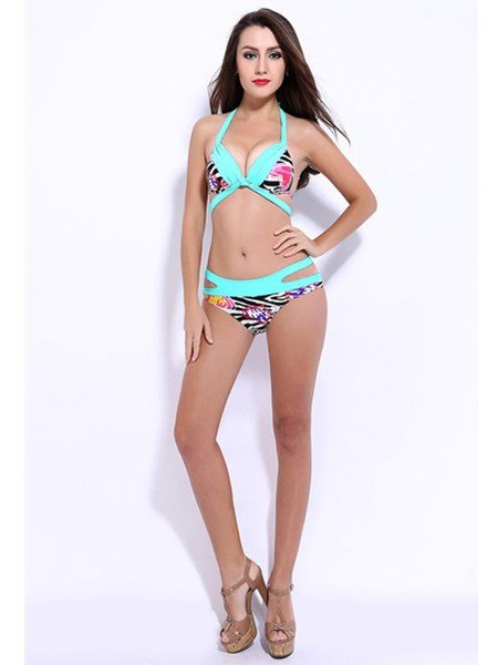 Deep-V Neck Top Up Swimwear with Falsies Free Wire Sexy Hollow Bikini Set