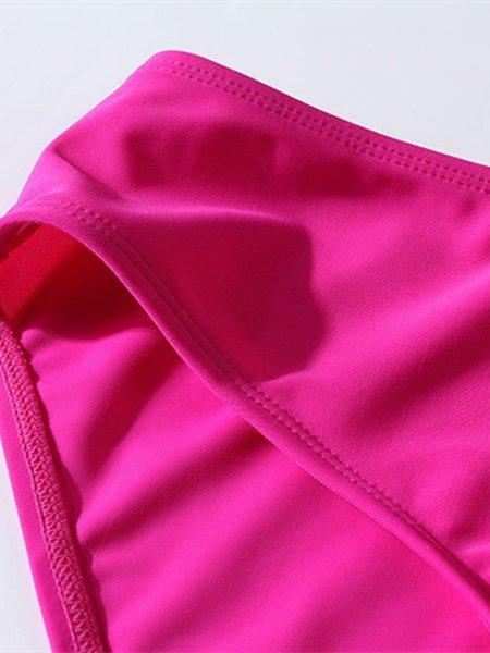 Sexy Deep-V Neck Beach Swimwear with Falsies and Pleated Cross Bra Monokini