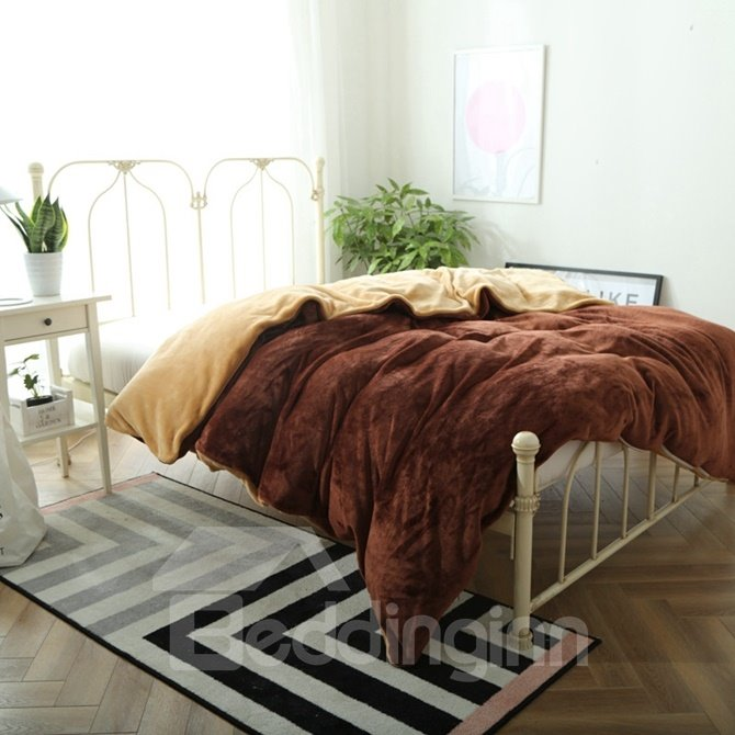 Neutral Color Soft Flannel 4-Piece Duvet Cover Sets