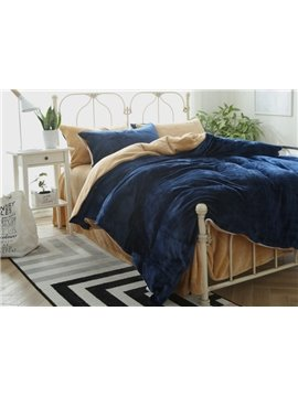 Dark Blue and Camel Flannel 4-Piece Duvet Cover Sets
