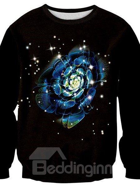 Modern Long Sleeve Flower Pattern 3D Painted Pullover Sweatshirt
