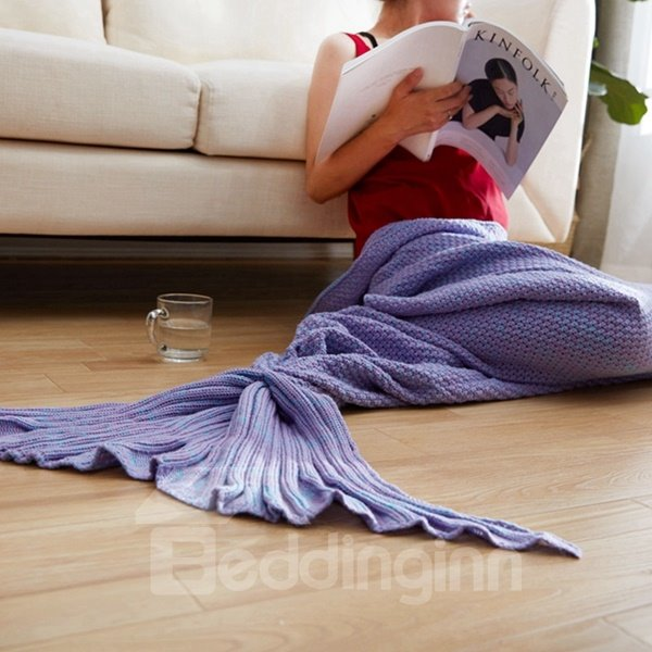 Popular Design Soft Knitted Mermaid Tail Orlon Blanket