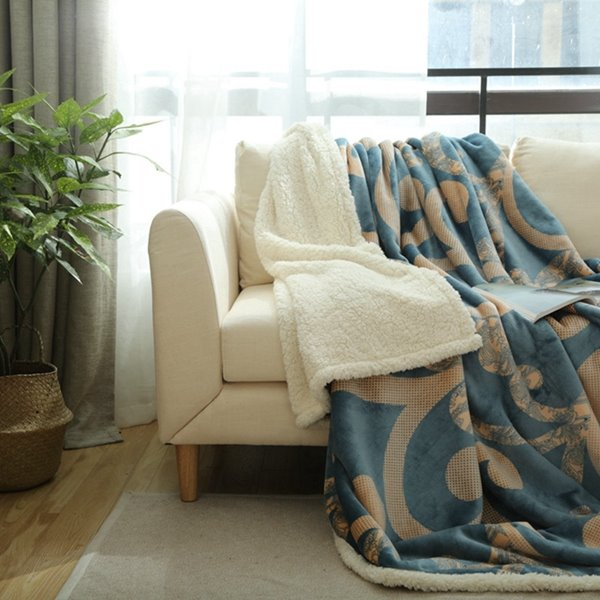Comfy Flannel and Imitated Cashmere Blue Blanket