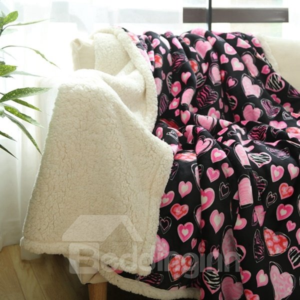Adorable Heart-shaped Pattern Print Flannel and Imitated Cashmere Blanket