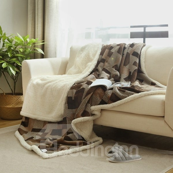 graceful brown soft flannel and imitated cashmere blanket. Black Bedroom Furniture Sets. Home Design Ideas