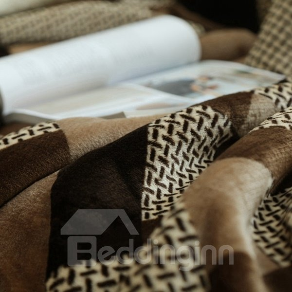 Graceful Brown Soft Flannel and Imitated Cashmere Blanket