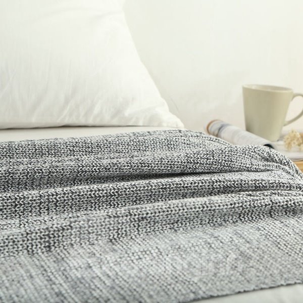 Modern Solid Color Comfy Cotton Knitted Blanket