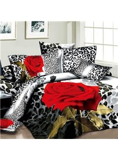 Sexy Red Rose and Leopard Print Cotton 2-Piece Pillow Cases