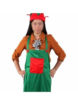 Unique Christmas Elf Pattern Apron and Hat