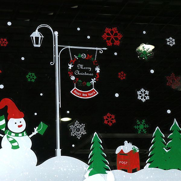 Christmas Decoration Snowman Pattern Wall Sticker