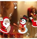 Wonderful Festival Christmas Decoration Santa Claus Drum Pattern Wall Sticker