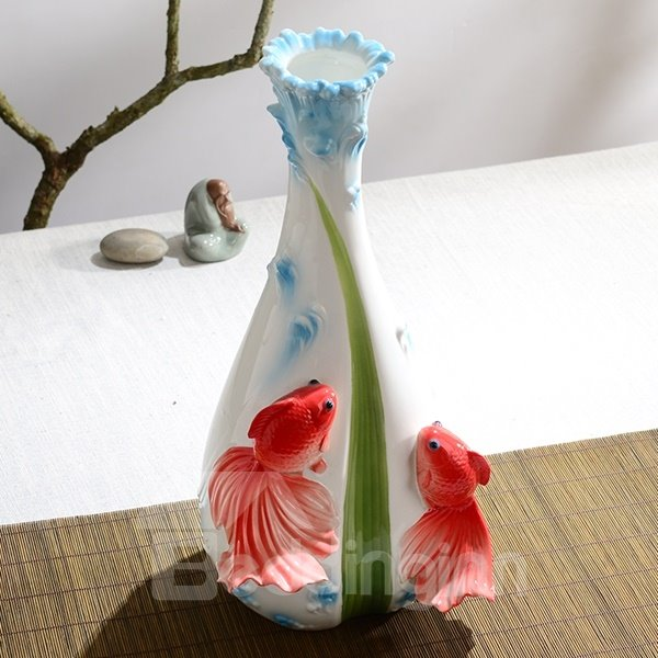 White Ceramic Two Beautiful Goldfish Print Flower Vase Painted Pottery