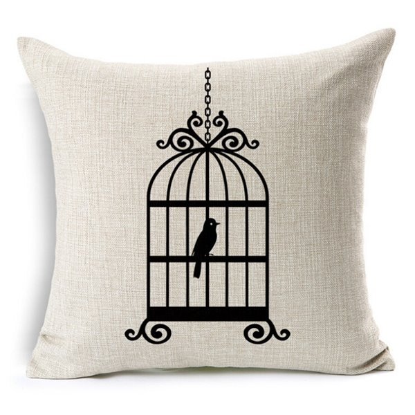 Retro Style Bird Silhouette Print Throw Pillow Case