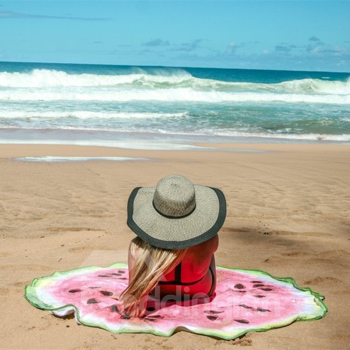 Novelty Giant Watermelon Multi Usage Vacation Round Beach Throw Mat