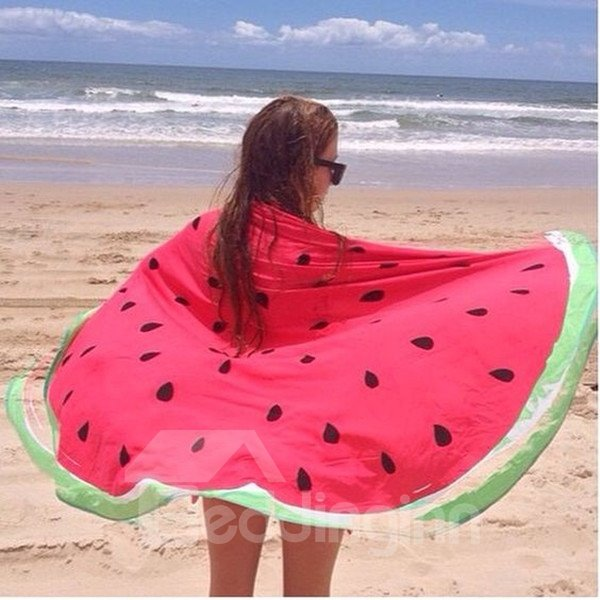 Fieldcrest Purple Towels: Novelty Giant Watermelon Multi Usage Vacation Round Beach