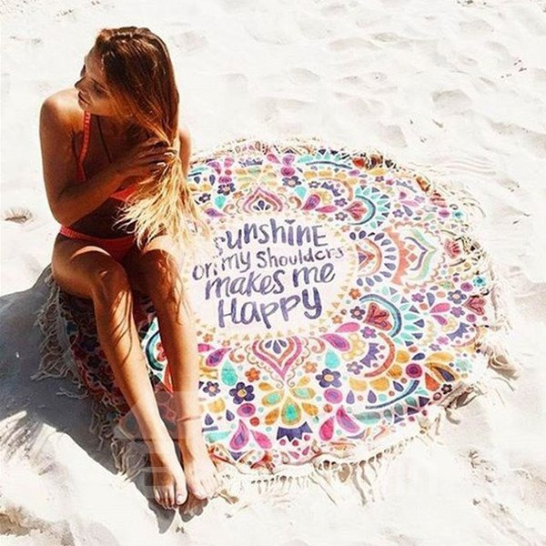 Colorful Bohemian Style Outdoor Round Multi Usage Beach Throw Mat