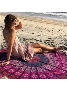 Charming Purple Bohemian Style Outdoor Multi Usage Round Beach Throw Mat